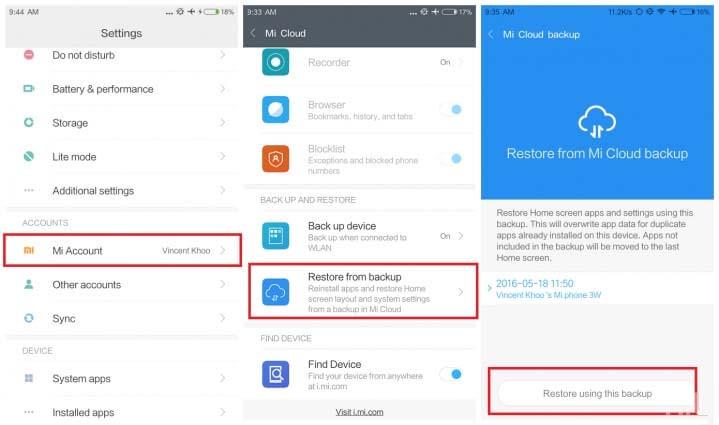 Restore Xiaomi Data