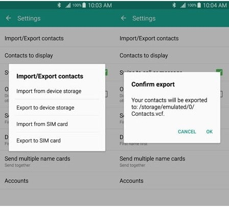 export contacts from Samsung phone