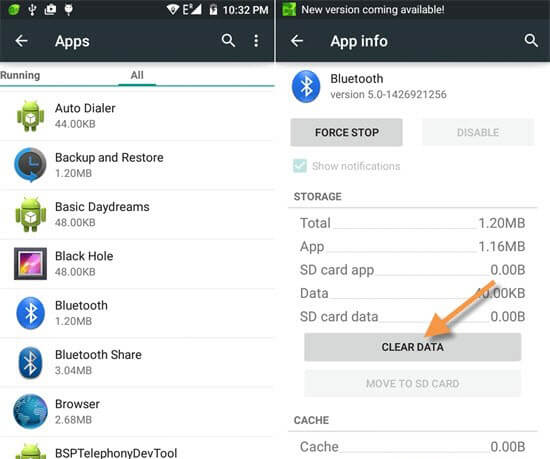 clear cache and clear data to fix unfortunately bluetooth stopped error