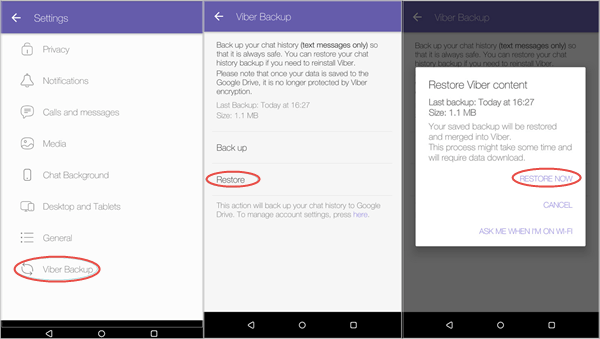 Restore Viber Messages on Android From Backup
