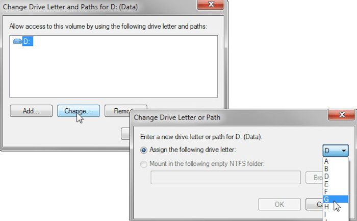 Assign a New Drive Letter Name To SD Card