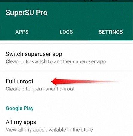 Unroot Android Using SuperSu App