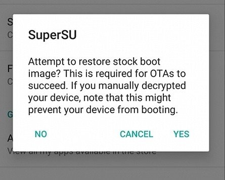 Unrooting Android Using SuperSu