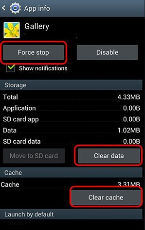 Clear Cache and Clear Data Of Gallery App