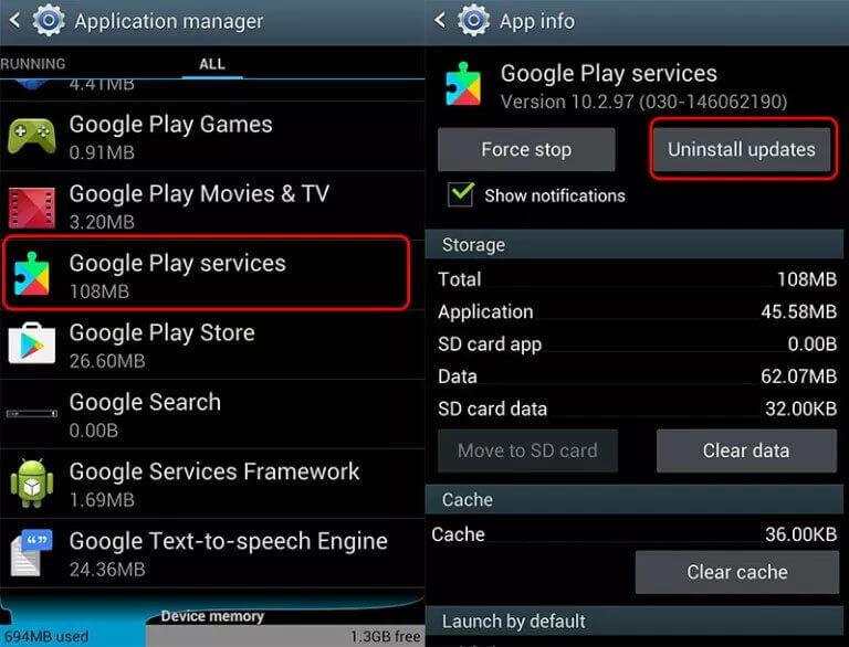 Uninstall Google Updates On Android