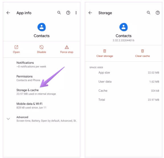 Clear Cache and Clear Data Of Contacts App