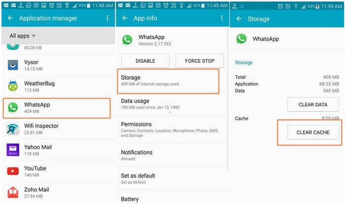 Clear WhatsApp Cache and Data