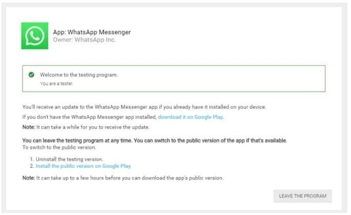Leave WhatsApp Beta Program