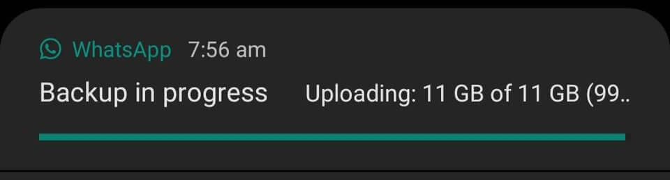 WhatsApp Backup Stuck At 99